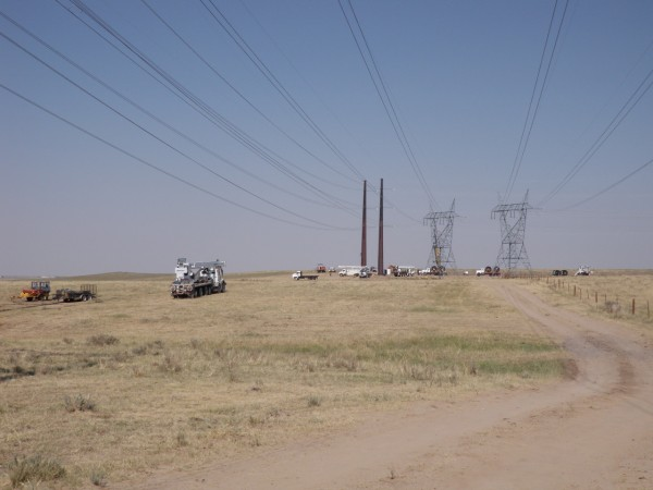 The existing 230 line next to the newly constructed 345 kV line